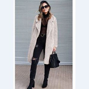 Plush Long Coats with Pockets S TO 3XL light beige